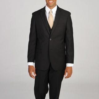 Caravelli Italy Men's Super 150 3-piece Black Pinstripe Suit