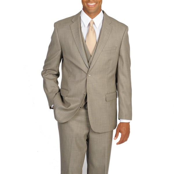 Caravelli Italy Men's Superior 150 Tan Vested Classic 3-piece Suit