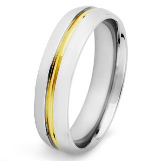 Two-tone Stainless Steel Men's Goldplated Center Ring