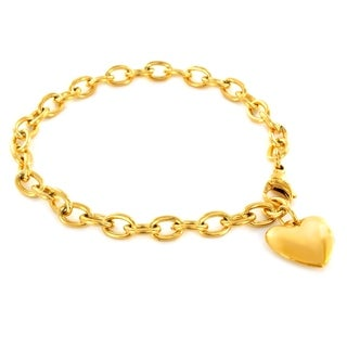 ELYA Rosetone or Goldtone Stainless Steel Polished Heart Bracelet