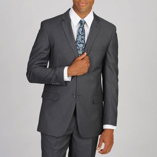 Caravelli Men's Slim Super 150 Pinstripe Grey Suit