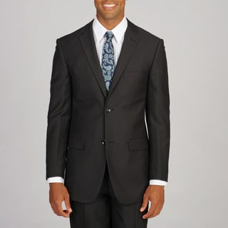 Caravelli Men's Slim Super 150 Pinstripe Black Suit