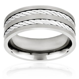 Titanium and Sterling Silver Men's Crucible Double Rope Inlay Ring