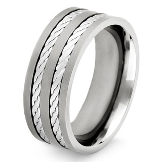 Crucible Titanium and Sterling Silver Men's Crucible Double Rope Inlay Ring