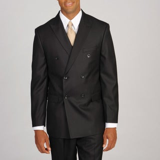 Caravelli Italy Men's Super 150 Double Breasted Tonal Black Suit
