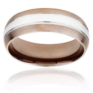 Two-tone Stainless Steel Men's Coffee-plated Edge Ring