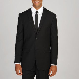 West End Men's Young Look Slim Fit Wool Feel 2-button Black Suit