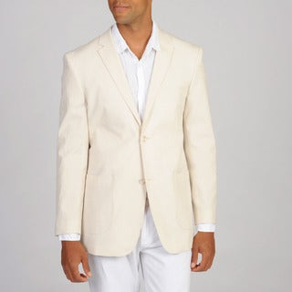 Prontomoda Elite Men's Seersucker Slim 2-button Blazer