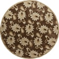 Sichuan Hand-tufted Brown Contemporary Floral Rug (8' Round)