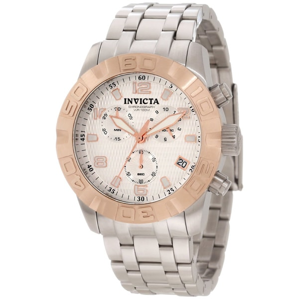 Invicta Men's 11451 Chronograph Silver Textured Dial Watch