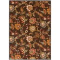 Mustafa Meticulously Woven Brown Contemporary Floral Rug (6'7 x 9'6)