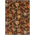 Mustafa Meticulously Woven Brown Contemporary Floral Rug (7'10 x 10'6)