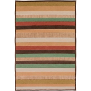 Khaldun Meticulously Woven Brown Outdoor Stripe Rug (4'7 x 6'7)