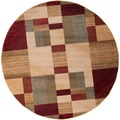 Tughai Meticulously Woven Red Transitional Abstract Rug (8' Round)