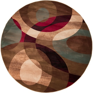 Bohdan Meticulously Woven Tan Contemporary Geometric Rug (8' Round)