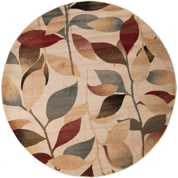 Aksehir Meticulously Woven Ivory Contemporary Floral Rug (8' Round)