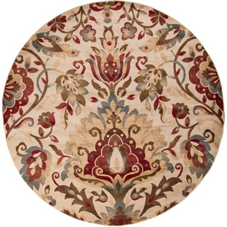 Konya Meticulously Woven Traditional Floral Rug (8' Round)