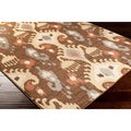 Bithynia Meticulously Woven Brown Contemporary Ikat Abstract Rug (6'6 x 9'8)