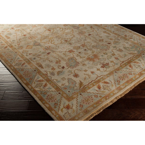 Dhaka Hand-knotted Olive Traditional Oriental Wool Rug (5'6 x 8'6)
