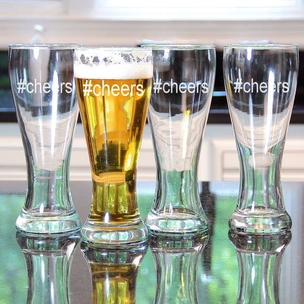 #Cheers Beer Glasses (Set of 4)