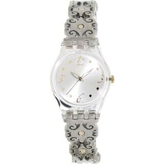 Swatch Women's Originals LK294G Silver Stainless-Steel Swiss Quartz Watch with Silver Dial