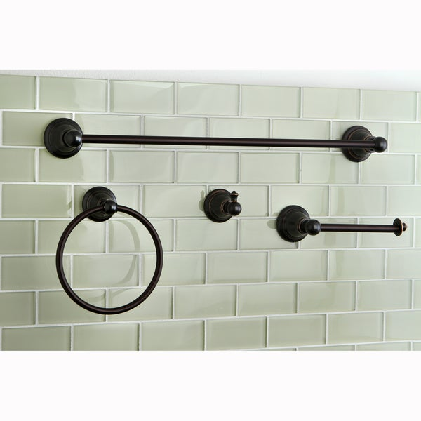 Oil rubbed bronze 4 piece bathroom accessory set - Rubbed oil bronze bathroom accessories ...