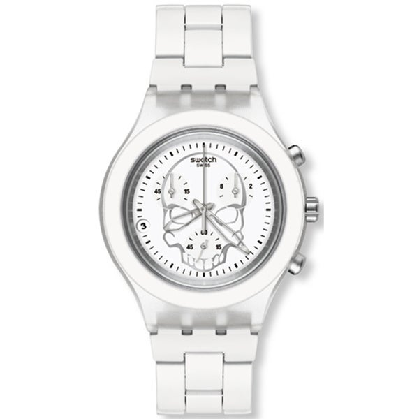 Swatch Men's Full Blooded SVCW4000AG White Aluminum Swiss Quartz Watch with White Dial