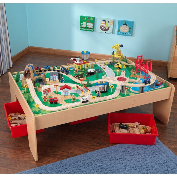 Kidkraft waterfall mountain train set and table 15562158 for 100 piece cityscape train set and wooden activity table