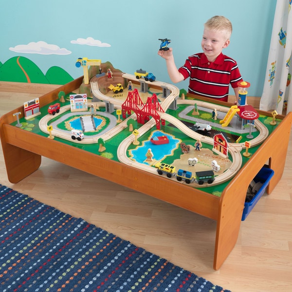 Wooden train track table set activity kids toy children for 100 piece cityscape train set and wooden activity table