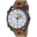 Diesel Men's White Dial Brown Leather Strap Watch