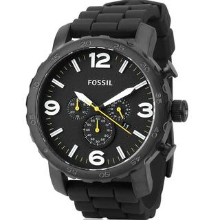 Fossil Men's 'Nate' Chronograph Black Silicone Watch