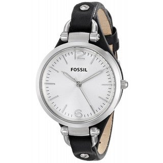 Fossil Women's 'Georgia' Black Leather Strap Watch