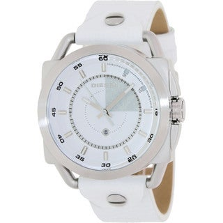 Diesel Men's White Leather Analog White Dial Quartz Watch