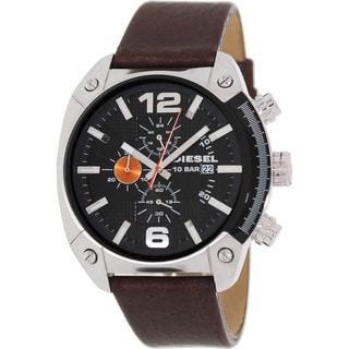 Diesel Men's Brown Leather Analog Black Dial Quartz Watch