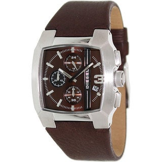 Diesel Men's Brown Dial Leather Strap Chronograph Watch