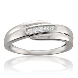 14k White Gold Men's 1/4ct TDW Princess Diamond Band (H-I, SI1-SI2)