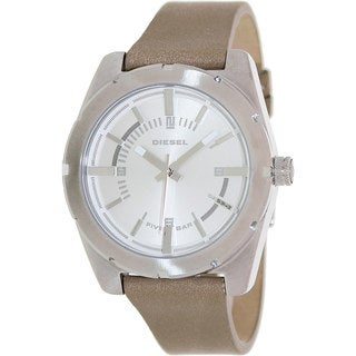 Diesel Men's Beige Leather Strap Watch