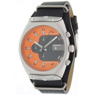 Diesel Men's Black Leather Orange Dial Quartz Watch