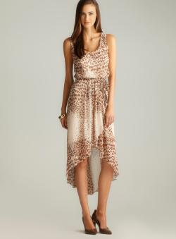 MSK Animal Print Tulip Hem Dress
