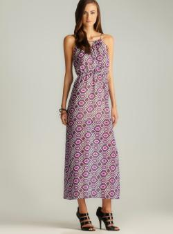 Romeo & Juliet Couture Geometric Print Blouson Maxi Dress