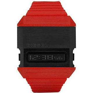 Diesel Men's DZ7198 Red Rubber Quartz Watch with Digital Dial