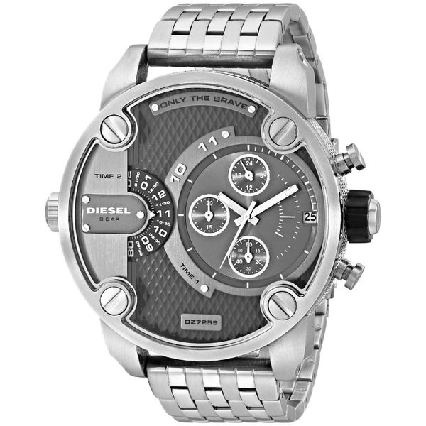 Diesel Men's DZ7259 Silver Stainless-Steel Quartz Watch with Grey Dial