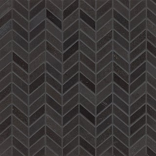 Absolute Black Granite Chevron Mosaic Polished Tiles (Box of 10 Sheets)