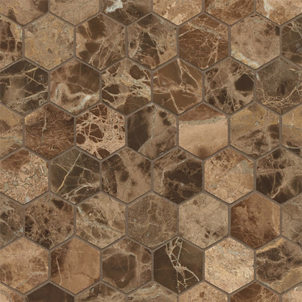 Emperador Dark Marble Hexagon Mosaic Polished (Box of 10 Sheets)