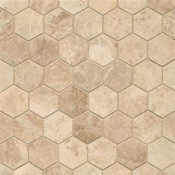 Cappuccino Marble Hexagon Mosaic Polished Tiles Box Of 10 Sheets