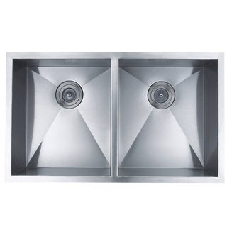 BOANN Handmade Double Bowl 16 Guage Undermount 304 Stainless Steel Kitchen Sink