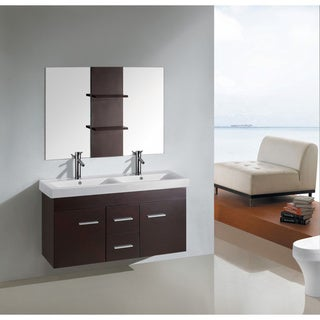 48 inch Kokols wall floating bathroom vanity double cabinet with mirror