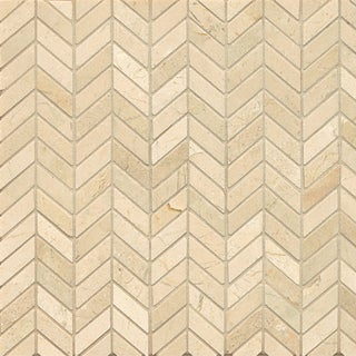 Crema Marfil Marble Chevron Mosaic Polished Tiles (Box of 10 Sheets)