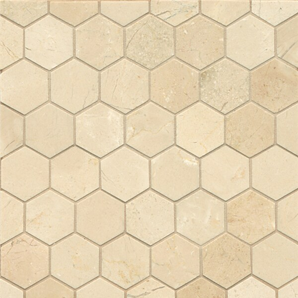 Crema Marfil Marble Hexagon Mosaic Polished Tiles Box Of 10 Sheets