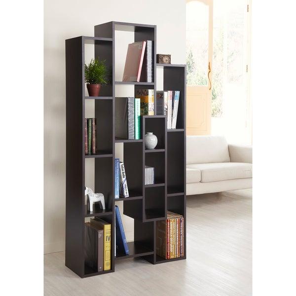 furniture of america normandie modern multi shelf storage bookcase and room divider walnut. Black Bedroom Furniture Sets. Home Design Ideas